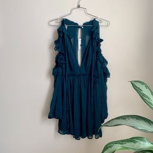 Free People Cold / Split Shoulder Blue Green Tunic